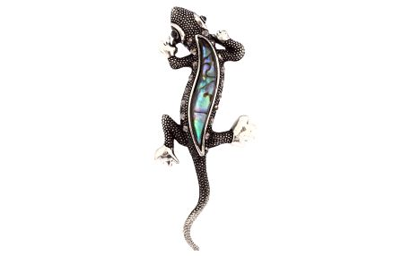 Fashion Icon Přívěsek ještěrka s Paua perletí a patinou