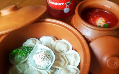 3chodové rusko-ukrajinské menu: boršč i pelmeně