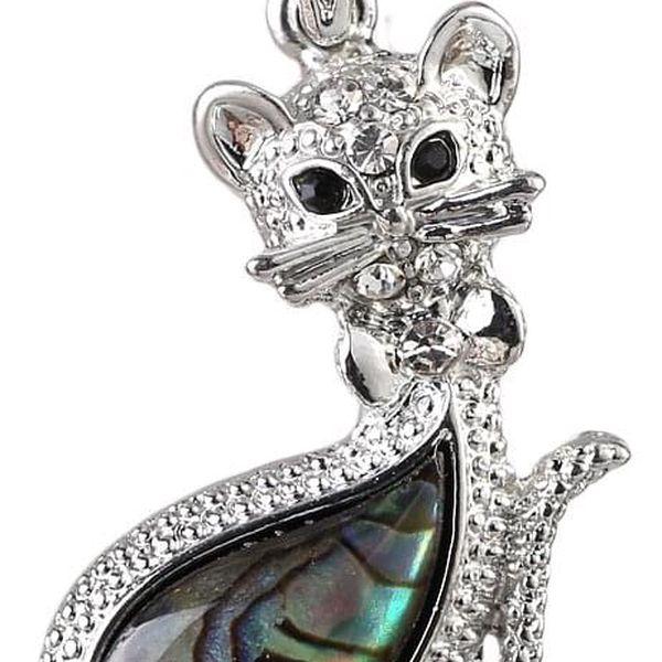 Fashion Icon Přívěsek perleť paua kočička velká perleť paua perleť paua kočka zvířátka etno přírodní materiály s kamínkem 0412