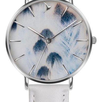 Dámské hodinky s bílým páskem z pravé kůže Emily Westwood Feather