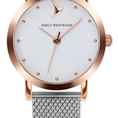 Dámské hodinky s šedým páskem z nerezové oceli Emily Westwood Vintage