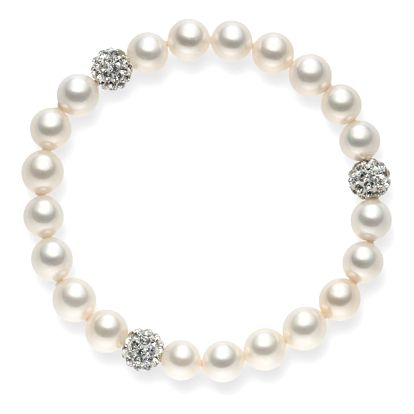 Perlový náramek Pearls Of London White Lady, 19 cm