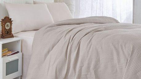Hnědý bavlněný lehký přehoz přes postel Brown,220x240cm