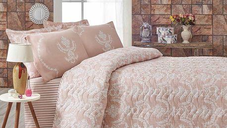 Růžový přehoz přes postel na dvoulůžko s povlaky na polštáře Pure,200x220cm