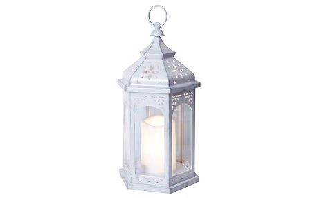 Bílá LED lucerna vhodná do exteriéru Best Season Amber