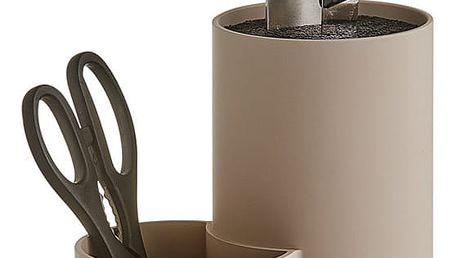 Univerzální stojan na nože + kontejner pro kuchyňské doplňky - stojan, barva taupe, ZELLER