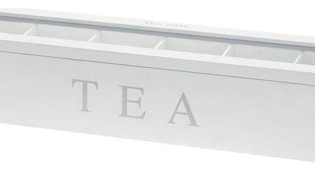 Dřevěný obdélníkový box na čaj TEA, 6 přihrádek Emako