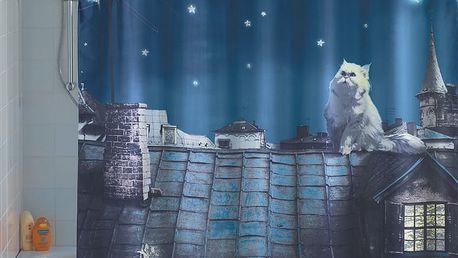 Sprchový závěs, textilní MOON CAT s osvětlením LED, 180 x 200 cm, WENKO