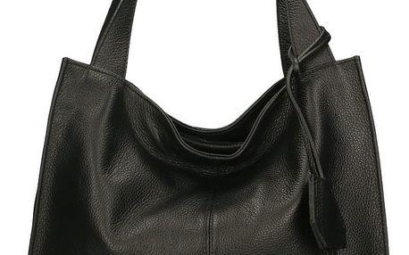 Černá kožená kabelka Chicca Borse Crispy
