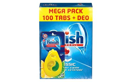Finish Classic tablety do myčky nádobí 100 kusů + Calgonit Finish Citron a Limeta osvěžovač do myčky 1 kus