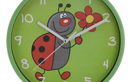 Nástěnné hodiny Ladybird zelená, 23 cm