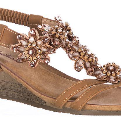 Brilliant Dámské sandály na klínku s kamínky