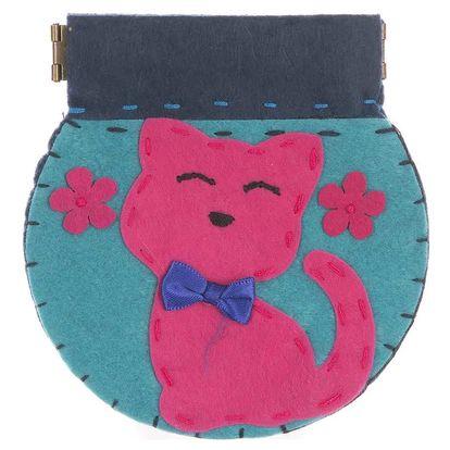 Fashion Icon Peněženka Kočka flísová ruční práce