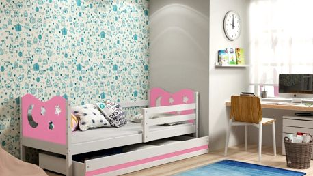 Dětská postel MIKO 1 80x190 cm, bílá/růžová Pěnová matrace