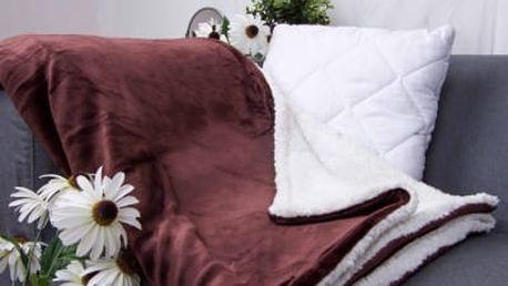 XPOSE ® Deka mikroflanel s beránkem - tmavě hnědá 140x200 cm