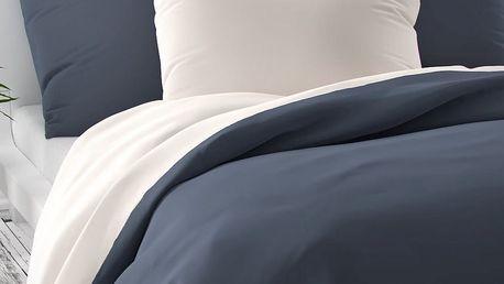 Kvalitex Saténové povlečení Luxury Collection bílá/tmavě šedá, 240 x 200 cm, 2 ks 70 x 90 cm