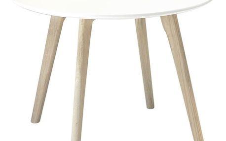 Bílý konferenční stolek s nohami z dubového dřeva Furnhouse Life, Ø60cm