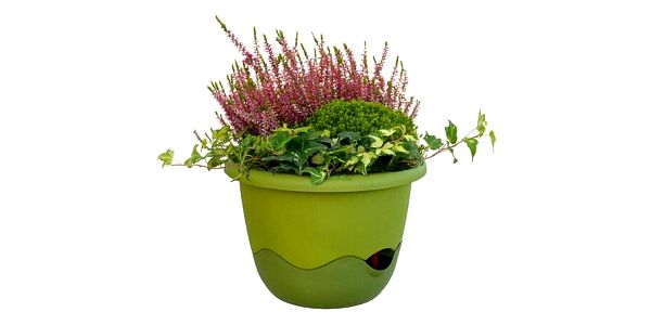 Plastia Samozavlažovací květináč Mareta zelená , pr. 30 cm, pr. 30 cm2