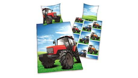 Herding Dětské bavlněné povlečení Traktor, 140 x 200 cm, 70 x 90 cm