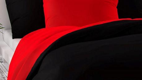 Kvalitex Saténové povlečení Luxury Collection červená / černá, 140 x 220 cm, 70 x 90 cm