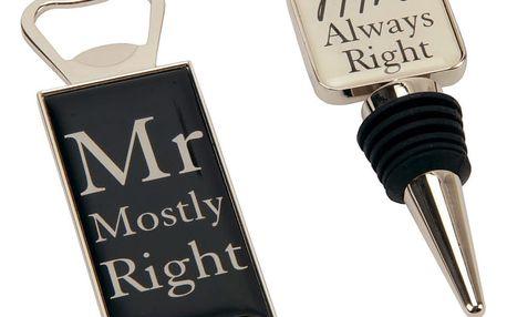 Set otvíráku a zátky Amore Mr. and Mrs.