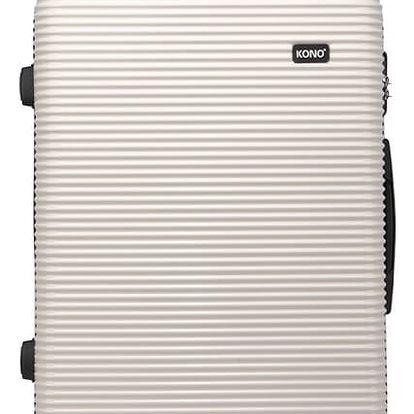 Dámský malý černobílý kufr na kolečkách Travel 6676