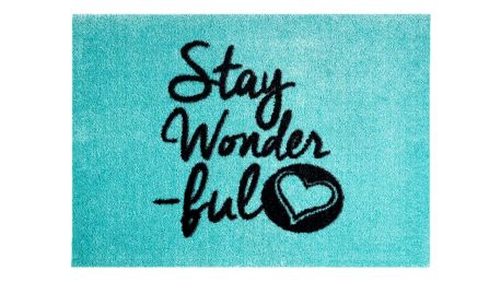 Modrá rohožka Mint Rugs StateMat Stay Wonderful,50x75cm