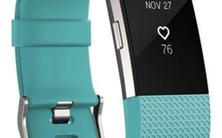 Fitness náramek Fitbit Charge 2 large - Teal Silver (FB407STEL-EU)