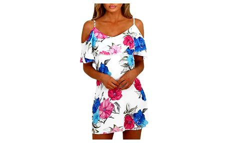 Letní květované šaty s volánkem