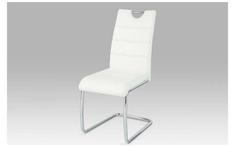 Jídelní židle, chrom / bílá s prošitím, WE-5076 WT Autronic