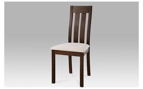 Jídelní židle masiv buk, barva ořech, potah béžový BC-2602 WAL Autronic