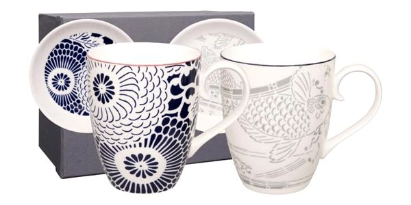 Sada 2 porcelánových hrnků s podšálkem Tokyo Design Studio Shiki, 380ml