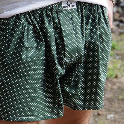 Trenýrky BadBros Terezky zelené - s puntíky Zelená