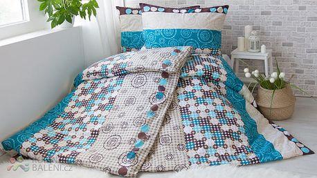 XPOSE ® Bavlněné povlečení na dvě lůžka TEREZA - modrá 140x200, 70x90