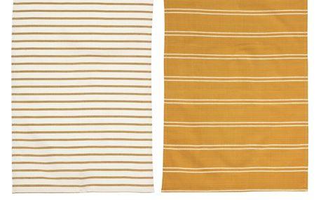 Bloomingville Kuchyňská utěrka Mustard Varianta A, oranžová barva, textil