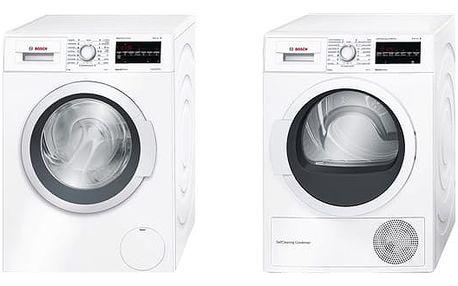 Set (Sušička prádla Bosch WTW87467CS) + (Automatická pračka Bosch WAT28467CS) + DOPRAVA ZDARMA