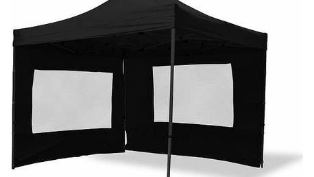 Garthen PROFI 2488 Zahradní párty stan nůžkový 3x3 m, černý + 4 bočnice