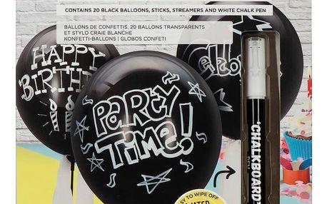 Set 20 popisovatelných balónků a křídového pera NPW Chalkboard Balloons