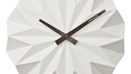 Bílé nástěnné hodiny Karlsson Origami Ceramic