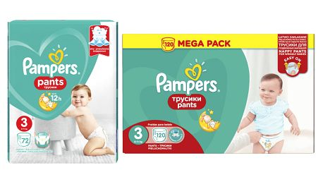 PAMPERS Pants 3 Active Baby Dry 192 ks (6-11 kg) MĚSÍČNÍ ZÁSOBA - plenkové kalhotky