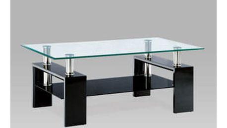 Konferenční stolek AF-1024 BK 110x60x45 cm - černý/sklo/chrom