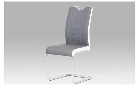 Jídelní židle chrom / šedá látka + bílá koženka DCL-410 GREY2 Autronic