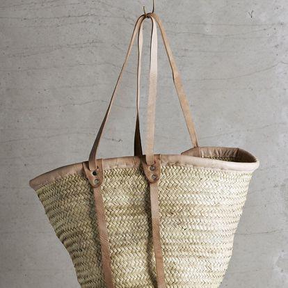 Tine K Home Slaměná taška Tine K Natural - dlouhá ucha, béžová barva, hnědá barva, přírodní barva, proutí, kůže