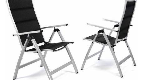 Garthen 35223 Sada 2 ks luxusních hliníkových polohovatelných černých židlí