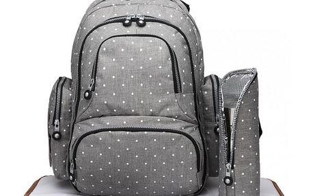 SET: Mateřský šedý batoh na kočárek Dario 6706D2