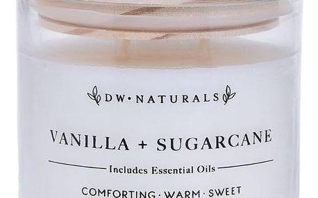 dw HOME Vonná svíčka ve skle Vanilla Sugar Cane 500g, bílá barva, sklo, dřevo, vosk