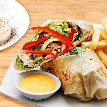 Tortilla s hranolky a dezertem pro 1 nebo 2