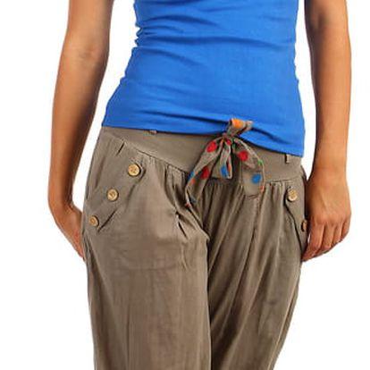 Harémové dámské kalhoty hnědá
