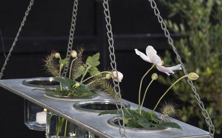 IB LAURSEN Závěsný kovový držák na vázičky/květináče, šedá barva, kov, zinek