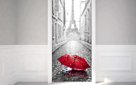 Adhezivní samolepka na dveře Ambiance Eifel Tower And Umbrella